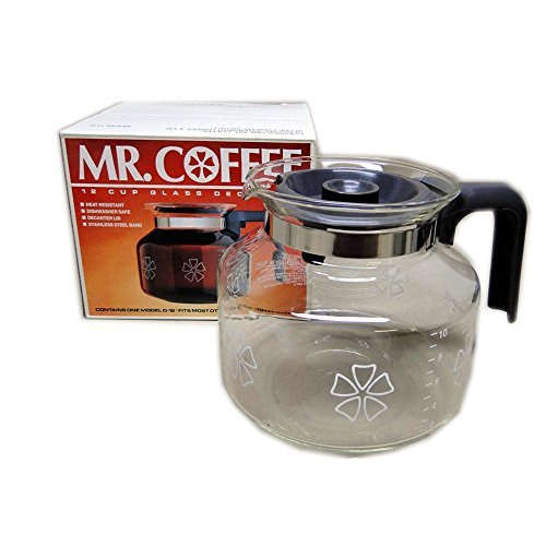 Vintage 1987 Mr. Coffee Flower Patterned 12 Cup Glass Decanter No. D-12