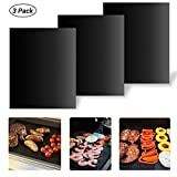 BBQ Grill Mat, LEMEGO Set of 3 Non-stick Reusable Baking Mats for Home Outdoor Beach and More