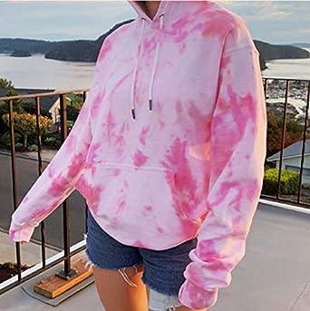 Womens Tie Dye Printed Drawstring Hooded Sweatshirt Teen Girls Oversized Long Sleeve Gradient Pullover Tops with Pocket