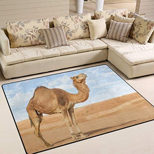 Libaoge Area Rugs - Durable, Soft Carpet - Hipster Camel in Desert Landscape Nature Indoor Flooring Rug Doormat for Living Room Bedroom | Play Mat for Children/Kids/Nursery/Boys/Girls - 5'3
