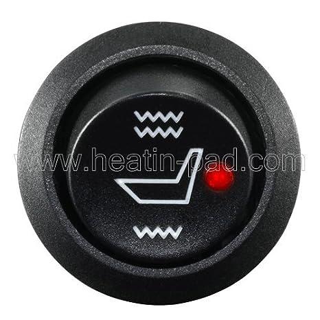 3 White Point Round 3 Gear Heating Switch /×1jia 2 Seats WATERCARBON Tech Era Carbon Fiber Seat Heater Kit Hi//Lo Setting