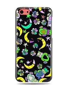 """GRÜV Case Design """"Lindos Osos de Peluche y Lunas Durmiendo"""" - Diseñador Mejor Calidad de Impresión en Funda Carcasa Rigida Negra - para iPhone 5c"""