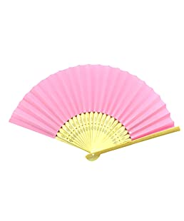 Outflower pliable papier Bambou Uni à la main Fan enfants DIY Crafts fête de mariage dragées ventilateurs 21cm (Rose), Bambou, rose