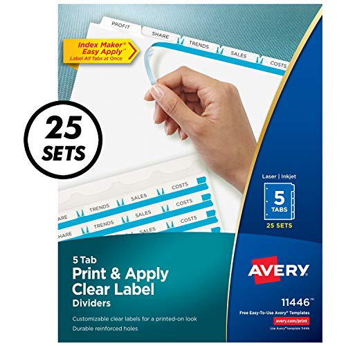 Avery 5-Tab Binder Dividers, Easy Print & Apply Clear Label Strip, Index Maker, White Tabs, 25 Sets (11446) ()