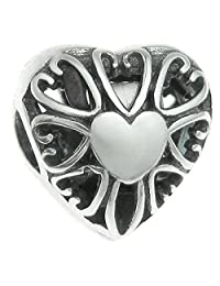 Queenberry Sterling Silver Love Heart Valentine Clip Lock European Style Bead Charm