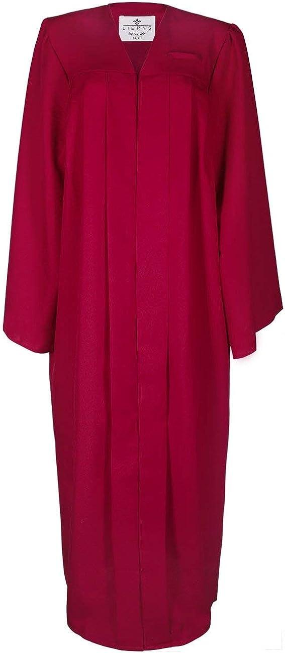 Lierys Toga Hombre/Mujer Negro, Azul, Rojo - Toga en Las Tallas S-XL - con Cierre a presión - Túnica para la graduación Escolar o universitaria