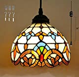 Kiven Plug-In Tiffany chandelier handmade glass Pendant Lamp 15 Foot Black Cord with On Off Dimmer Switch bulb not included ul listed (TB0204)