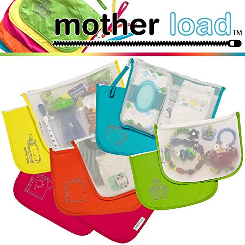 Diaper Bag Organizer Pouches by MOTHER LOAD a 5-pc Set for Diapers, Wet Bag, Clothes, Snacks, Toys, Machine Washable Multi-Bag Organizer & Wrist-let. A Mommy Must Have for all Babies Needs