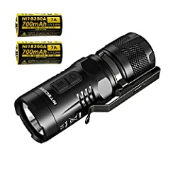 NiteCore EC11 900 Lumen CREE XM-L2 LED Flashlight Secondary Red LED with bonus 2x IMR 18350 Batteries Specifications: 5 brightness levels (runtimes) (IMR 18350 / CR123A): -- Turbo: 900 lm (30 min) // 430 lm (45 min) -- High: 300 lm (45 min) /...