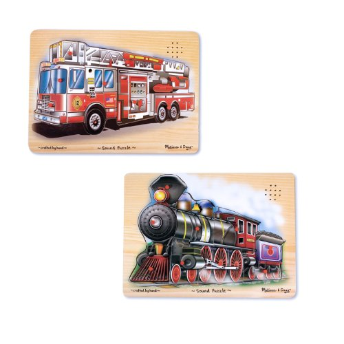 Melissa & Doug Vehicles Sound Puzzles Set: Fire Truck and Train - Wooden Peg Puzzles