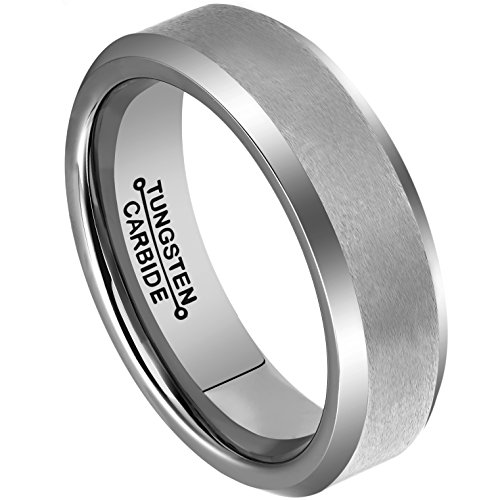 MNH Rings for Men Tungsten 6mm Wedding Engagement Band Matte Finish Beveled Polished Edge Comfort Fit