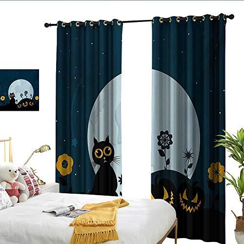 Halloween Decor Curtains Cute Cat and Lanterns Moon