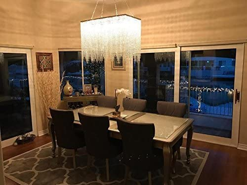 Rectangular Crystal Chandelier With Linear Design Dining Room