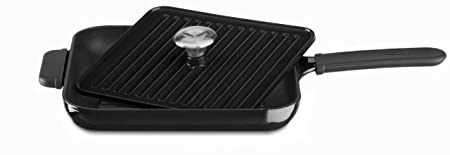 KitchenAid KCI10GPOB Cast Iron Grill and Panini Press Cookware – Onyx Black