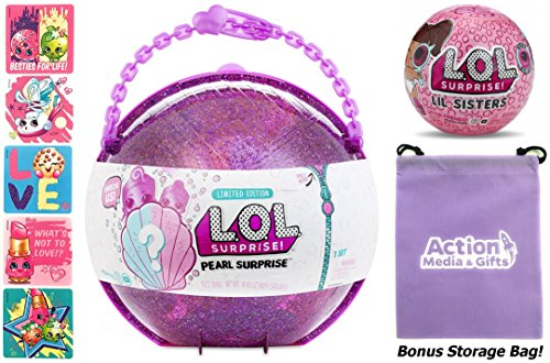 LOL Surprise MEGA Bundle includes (1) Limited Edition Pearl Surprise, (1) Eye Spy Lil Sister Doll (5) Shopkins Glitter Stickers and (1) Purple Action Media Storage ()