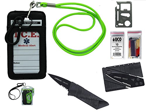EDOG Urban Gear Cardknife Emergency Survival Neck Wallet, Knfe, Tools, Fire & Parcord with Water Resistant Case, Lanyard & (Ranger Adult Accessory Kit)