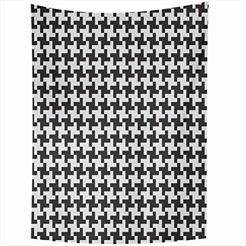 Ahawoso Tapestry 50x60 Inch Elegance Pixel Geometric Patterns Black White Simple Abstract Herringbone Braided Continuity Graphic Grid Design Wall Hanging Home Decor for Living Room Bedroom Dorm