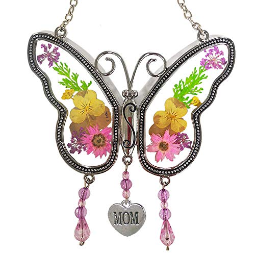 KOLIN Mom Butterfly Mother Suncatcher with Pressed Flower Wings - Butterfly Suncatcher - Mom Gifts Gift for Mother