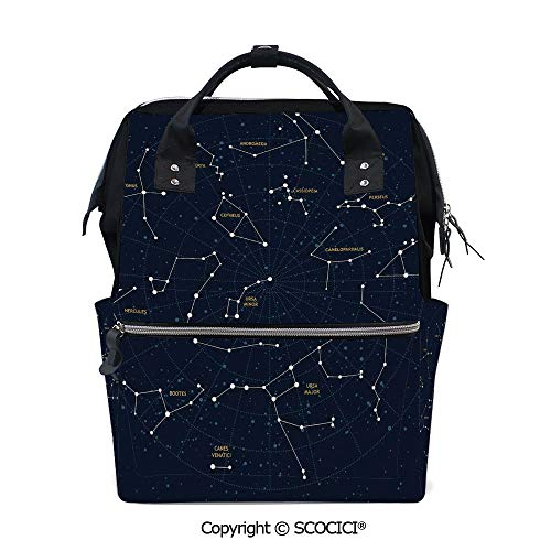 SCOCICI Travel Backpack Women Carry On Bag,Sky Map Andromeda Lacerta Cygnus Lyra Hercules Draco Bootes Lynx,with Large-Capacity