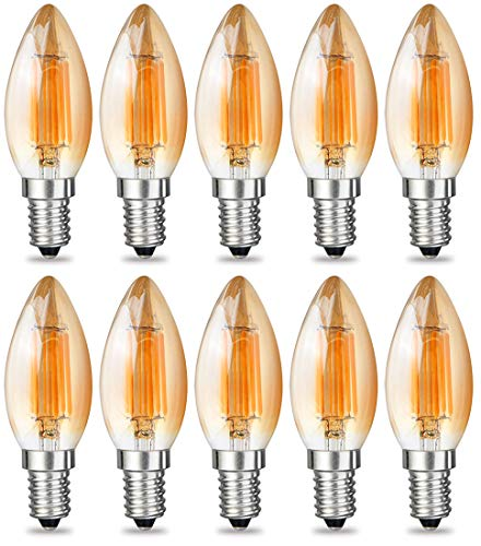 iRotYi (10-Pack) Dimmable 6W AC 120V LED Filament Light Amber Candle Bulbs C35, Warm White 2800 Kelvin 600LM, E14 Base Lamp, 60W Incandescent Bulbs Replacement