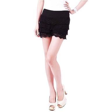 Td Womens Fitted Scallop Hem Crochet Lace Mini Shorts Junior Plus