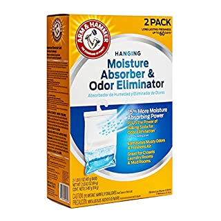 Arm & Hammer Fragrance Free Hanging Moisture Absorber and Odor Eliminator 2 Pack - Traps Moisture for Fresher, Cleaner Air