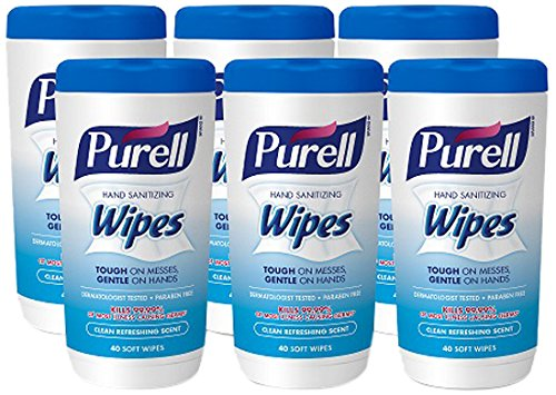 PURELL Hand Sanitizing Wipes - Clean Refreshing Scent, Non-Alcohol Wipes, 40 Count Canisters - 6 pack (Packaging may vary) - Non Scents