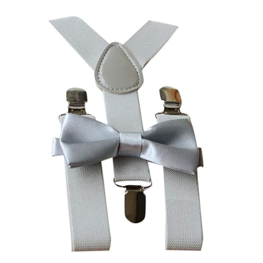 Bow Tie Set Koojawind 2 PCS Kids Girls Boys Unisex Skinny Style Fully Adjustable Y-Shape Clip Multicolor Braces Suspenders Tie Outfits Accessories