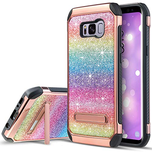 UARMOR Case for Samsung Galaxy S8 Plus/Galaxy S8+, Luxury Glitter Bling Rugged Shockproof Dirtproof Stand Hybrid Slim Sparkle Shiny Faux Leather Chrome Hard Case Cover, Rainbow