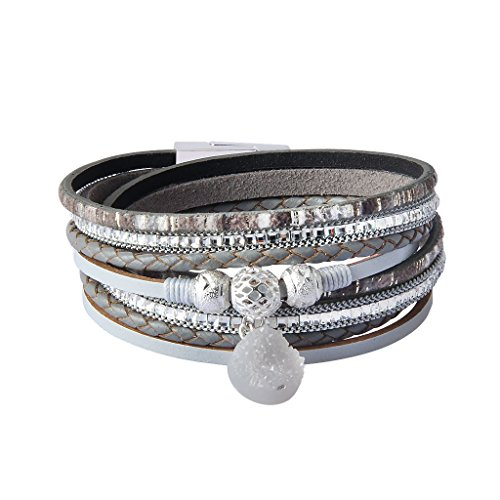 Agate Silver Bracelet - JAOYU Leather Wrap Bracelet Women - Silver Bead Agate Bracelet - Multilayer Handmade Wristband Boho Jewelry - Girls Birthday Gifts