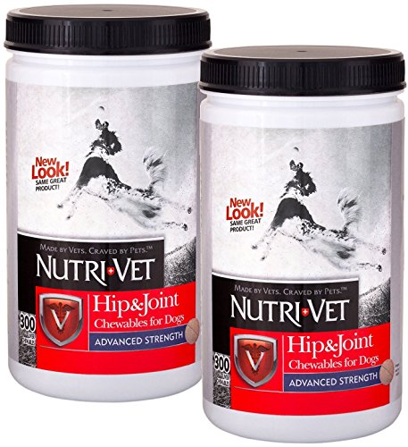 Nutri-Vet Hip & Joint Advanced Strength Chewables for Dogs w/Probiotic Gels, Safety-Sealed 300ct Twin-Pack by Nutri-Vet