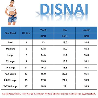 DISNAI Jean Denim Shorts for Women Junior Mid Waist at Women's Clothing store