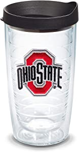Tervis Ohio State Buckeyes Logo Tumbler with Emblem and Black Lid 16oz, Clear