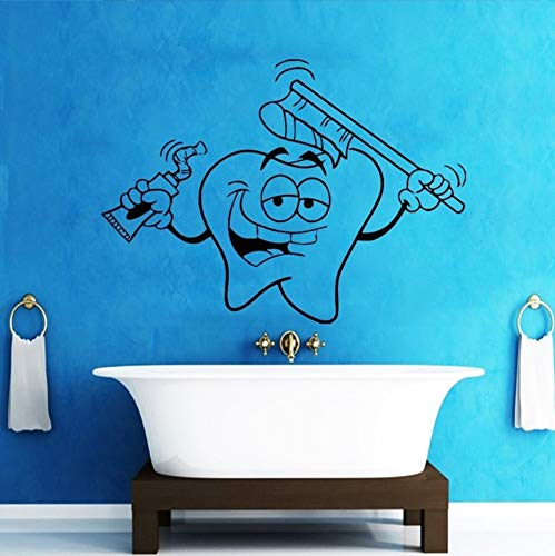 ponana Tooth Pattern Wall Sticker Cute Tooth Dental Clinic Vinyl Wall Decals for Kids Nursery Home Fashion Decoration 56X76Cm