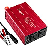 Soyond Car Power Inverter 300W Soyond Car Inverter DC 12V to 110V AC Charging Port Converter Car Charger Adapter 4.2A Dual USB Ports (Red_300W)