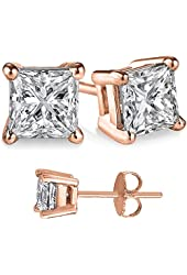 Unisex Rose Gold Overlay 925 Sterling Silver Princess Cubic Zirconia Square White Cz Stud Earrings.