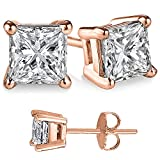 Unisex Rose Gold Overlay Solid Silver Princess Cubic Zirconia Square White Cz Stud Earrings.