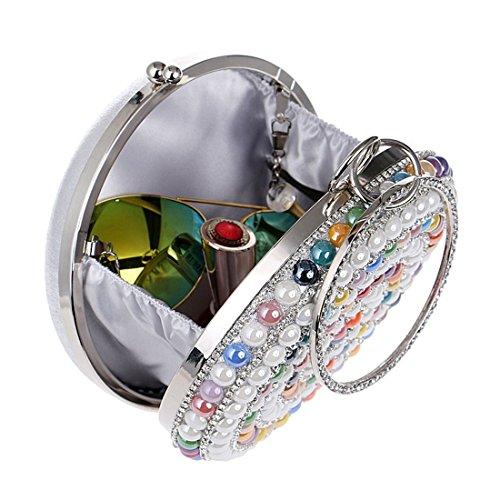 in strass da Borsa sera Color donna argento con Silver Silver da wRI6qntIf