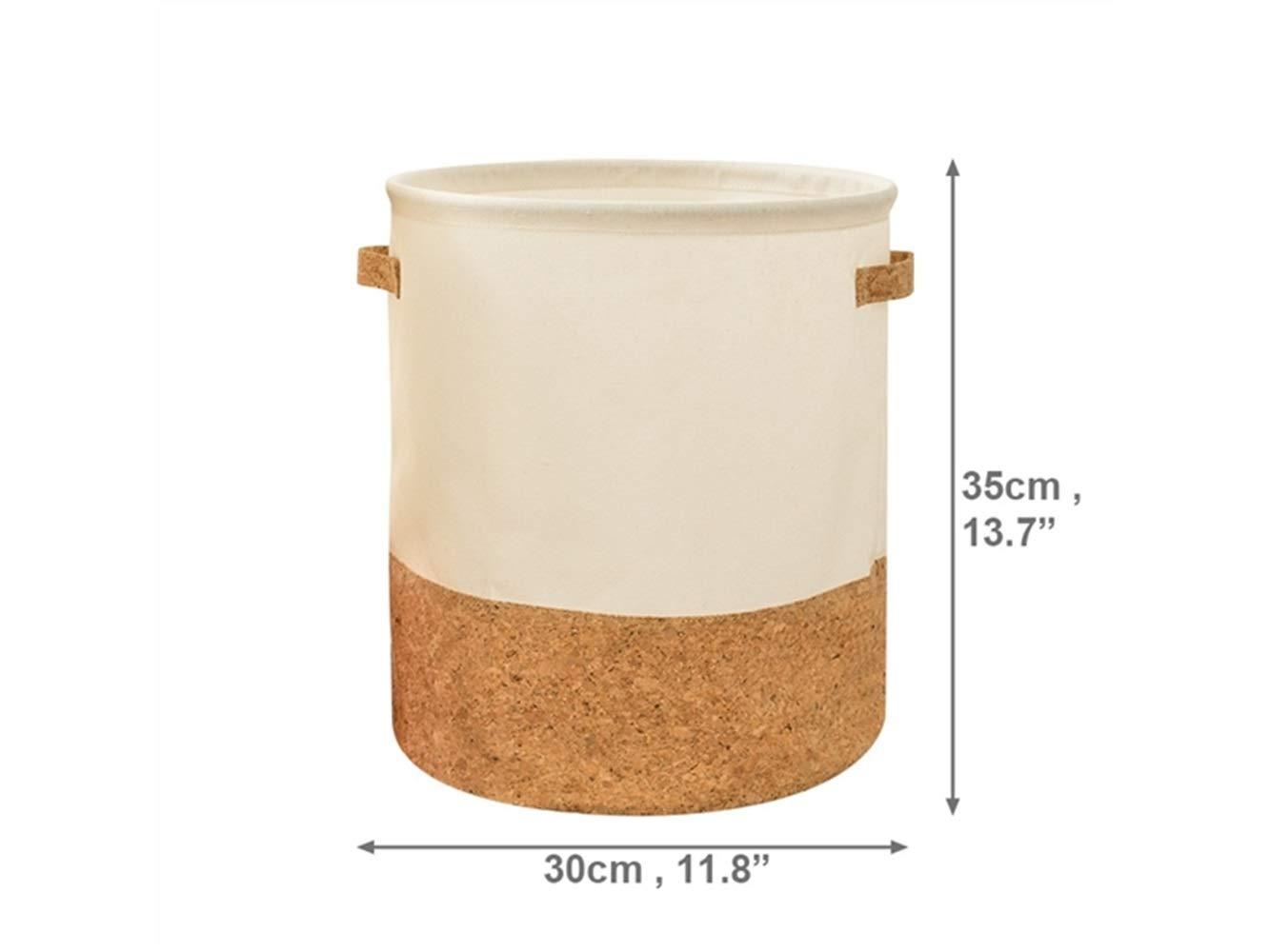 Storage Box Stitching Storage Box Cotton and Linen Box Sundries Storage Bucket (Light Brown+White)