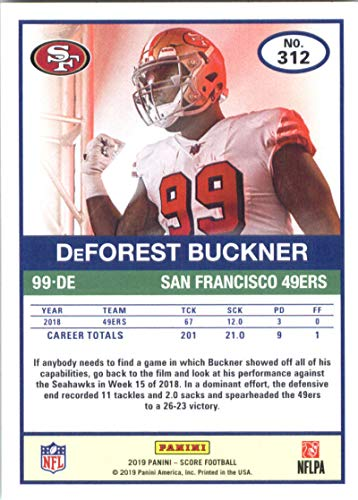 a66e6970f Amazon.com  2019 Score  312 DeForest Buckner NM-MT+ San Francisco 49ers  Officially Licensed NFL Football Trading Card  Collectibles   Fine Art