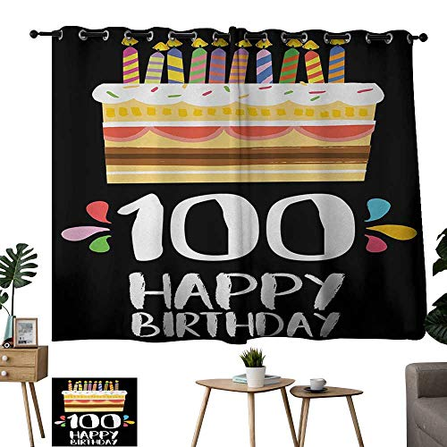 WinfreyDecor 100th Birthday Sliding Curtains Old Legacy 100 Birthday Party Cake Candles on Black Major Milestone Backdrop for Living, Dining, Bedroom (Pair) 55