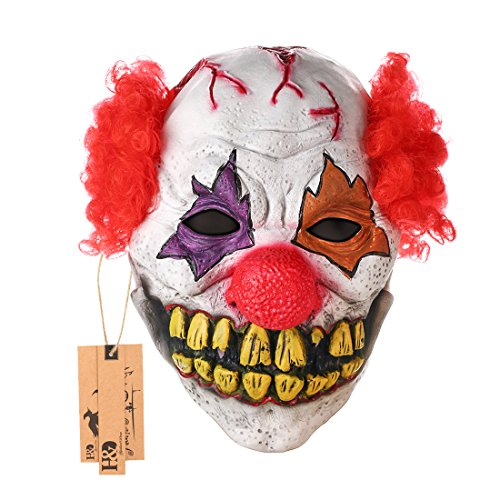 Scary-Clown-Mask-Adult-Mens-Latex-Red-Hair-Halloween-Evil-Killer-Fancy-Dress-Props