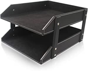 KINGFOM Letter Tray, Leather Paper Organizer Tray, Wooden Desk File Holder, Desktop File, Stackable Magazine Holder, Mail Sorter, Great for Home or Office - 2 Level Black