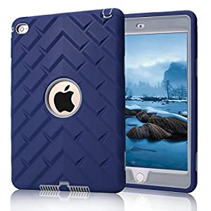 iPad mini 4 Case, iPad A1538/A1550 Case, Hocase Rugged Shockproof Anti-Slip Hybrid Hard Shell+Silicone Rubber Bumper Protective Case for Apple iPad mini 4th Generation 2015 - Navy Blue / Grey