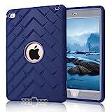 iPad Mini 4 Case, iPad A1538/A1550 Case, Hocase Rugged Shockproof Anti-Slip Hybrid Hard Shell+Silicone Rubber Bumper Protective Case for Apple iPad Mini 4th Generation 2015 - Navy Blue/Grey