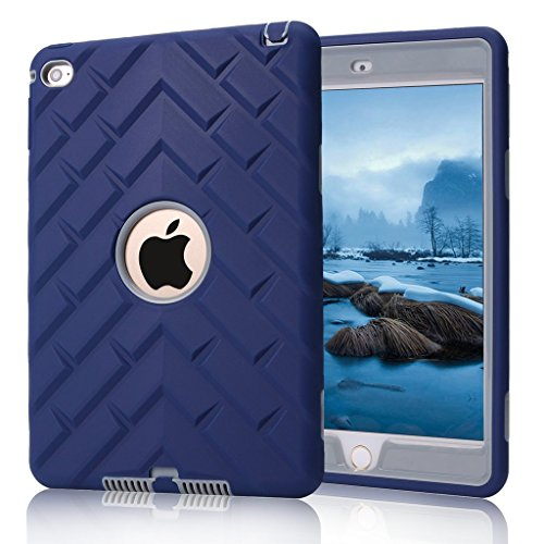 iPad Mini 4 Case, iPad A1538/A1550 Case, Hocase Rugged Shockproof Anti-Slip Hybrid Hard Shell+Silicone Rubber Bumper Protective Case for Apple iPad Mini 4th Generation 2015 - Navy Blue/Grey
