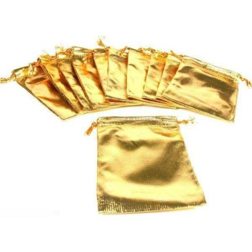 FindingKing 12 Pouches Gold Gift Bag Drawstring Jewelry 4.5