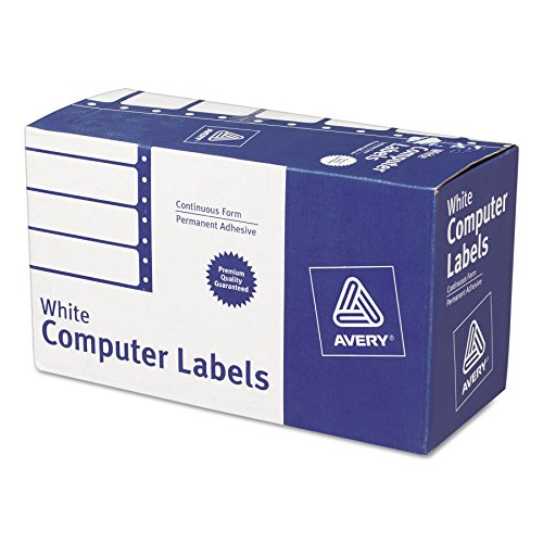 Avery 4022 Dot Matrix Mailing Labels, 1 Across, 1 15/16 x 4, White (Box of 5000)