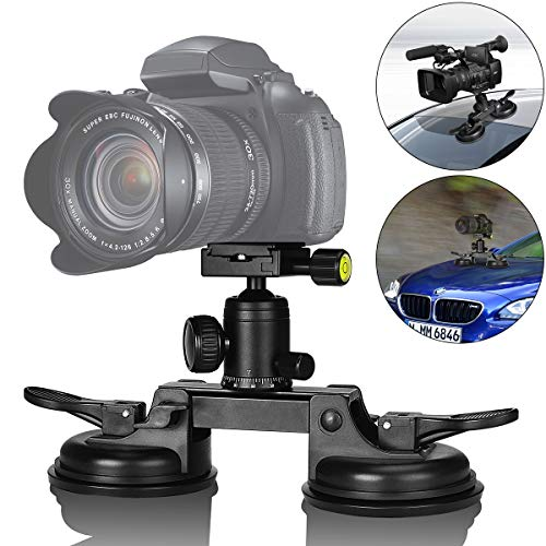 Heavy Duty DSLR/Mirorrless Camera Suction Cup Car Mount Professional Camcorder Vehicle Holder w/Quick Release 360°Panorama Ball Head Compatible with Nikon Canon Sony for Hi-Speed Motion Photography