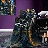 Futuristic Digital Printing Blanket Digital Paint Science Fiction Cityscape Architecture Cyberpunk Technology Summer Quilt Comforter 80''x60'' Black Orange Blue